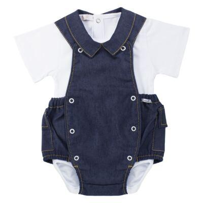 Imagem 1 do produto Jardineira c/ Body curto para bebe em fleece Denim - Roana - 11442034493 Jardineira com Body Jeans-G