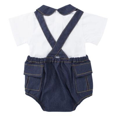 Imagem 2 do produto Jardineira c/ Body curto para bebe em fleece Denim - Roana - 11442034493 Jardineira com Body Jeans-G