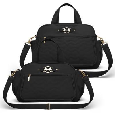 Imagem 1 do produto Bolsa maternidade para bebe Liverpool + Frasqueira Térmica Melrose Laços Matelassê Preto - Classic for Baby Bags