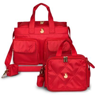 Imagem 1 do produto Bolsa Toulouse + Frasqueira térmica organizadora para bebe Classic Nylon Cereja - Masterbag