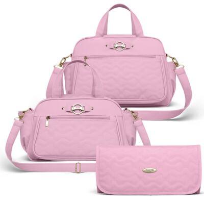 Imagem 1 do produto Bolsa maternidade para bebe Liverpool + Frasqueira Térmica Melrose + Trocador Portátil Laços Matelassê Rosa - Classic for Baby Bags