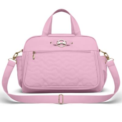 Imagem 2 do produto Bolsa maternidade para bebe Liverpool + Frasqueira Térmica Melrose + Trocador Portátil Laços Matelassê Rosa - Classic for Baby Bags