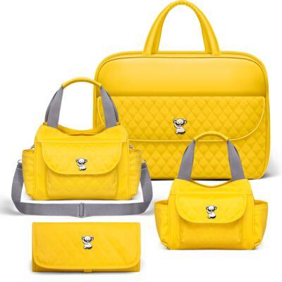 Imagem 1 do produto Kit Mala Maternidade para bebe + Bolsa Havana + Frasqueira Térmica Aruba + Trocador Portátil Colors Yellow - Classic for Baby Bags