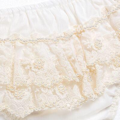 Imagem 2 do produto Calcinha em tricoline Renda & Pérolas Marfim - Roana - CLES0020 Calcinha Especial Marfim -G