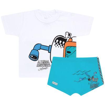 Imagem 1 do produto Conjunto de Banho Maluquinho Mergulhador: Camiseta + Sunga - Cara de Criança - KIT1-1308: SB1308 SUNGA + CCA1308 CAMISETA PIRATA MALUQUINHO-3