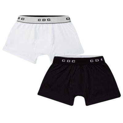 Imagem 1 do produto Kit com 2 Cuecas Boxer em malha Branca/Preta - Cara de Criança - KK0504 Boxer Preta KK2 Kit Cueca 2 pçs M/Malha-G