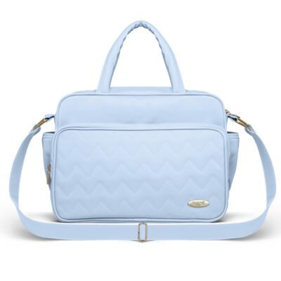 Imagem 3 do produto Mala Maternidade para bebe + Bolsa Turin + Frasqueira Térmica Trento Chevron Topázio - Classic for Baby Bags