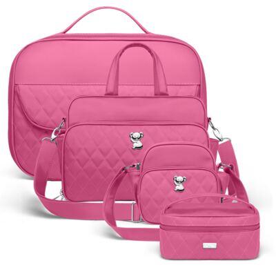 Imagem 1 do produto Kit Mala maternidade para bebe + Bolsa Viagem + Frasqueira Térmica + Necessaire Colors Pink - Classic for Baby Bags