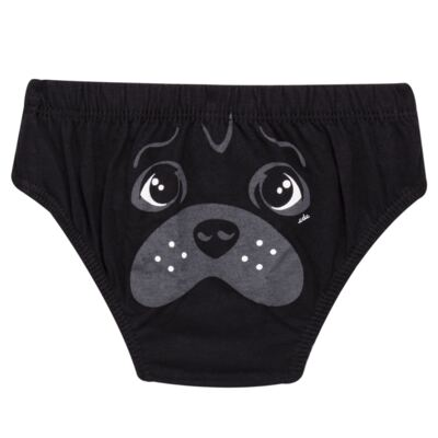 Imagem 2 do produto Kit com 3 Cuecas para bebe em malha Dogs - Cara de Criança - KK2342 Pug Masc. KK3 Kit Cueca 3pçs M/Malha -M