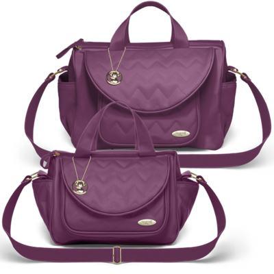 Imagem 1 do produto Bolsa maternidade para bebe Gênova + Frasqueira Térmica Nápoli Chevron Ametista - Classic for Baby Bags