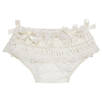 Imagem 1 do produto Calcinha para bebê em tricoline Renda Laços & Pérolas Marfim - Roana - CLLU0616031 Calcinha Luxo Laço Pérolas Marfim -RN
