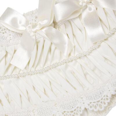 Imagem 2 do produto Calcinha para bebê em tricoline Renda Laços & Pérolas Marfim - Roana - CLLU0616031 Calcinha Luxo Laço Pérolas Marfim -RN