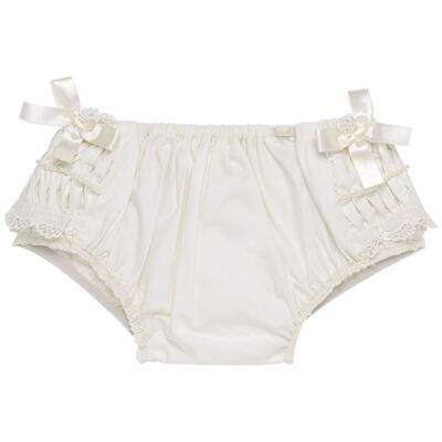 Imagem 3 do produto Calcinha para bebê em tricoline Renda Laços & Pérolas Marfim - Roana - CLLU0616031 Calcinha Luxo Laço Pérolas Marfim -RN