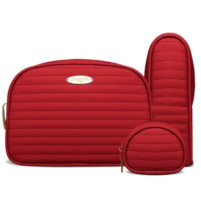 Imagem 4 do produto Kit Mala Maternidade para bebe + Bolsa Renan + Kit Acessórios Golden Vermelho- Classic for Baby Bags