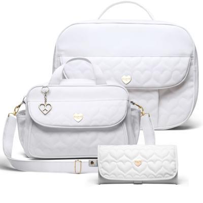 Imagem 1 do produto Kit Mala Maternidade para bebe + Bolsa Málaga + Trocador Portátil Corações Matelassê Branco - Classic for Baby Bags