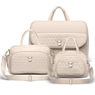 Imagem 1 do produto Kit Mala Maternidade para bebe + Bolsa Veneza + Frasqueira Térmica Milão Golden Koala Caqui - Classic for Baby Bags