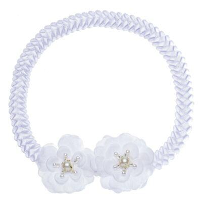 Imagem 1 do produto Faixa de cabelo trançada Flores & Pérolas Branca - Roana