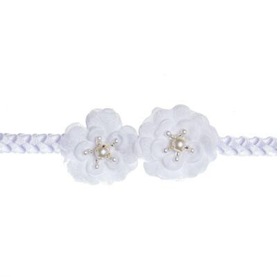Imagem 2 do produto Faixa de cabelo trançada Flores & Pérolas Branca - Roana