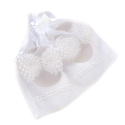 Imagem 5 do produto Sapatilha para bebe em cetim Laço Pérolas & Strass Marfim - Roana - SPL00034031 Sapatilha Luxo Laço Pérolas Marfim -P