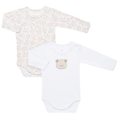 Imagem 1 do produto Pack: 02 Bodies longos para bebe em algodão egípcio c/ jato de cerâmica Nature Little Friends - Mini & Classic - 1023650 PACK 2 BODIES ML SUEDINE NATURE -M