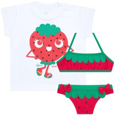 Imagem 1 do produto Conjunto de Banho Strawberry: Camiseta + Biquíni - Cara de Criança - KIT2-1253: B1253 BIQUINI + CCA1253 CAMISETA MORANGUINHO-1