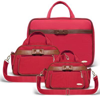 Imagem 1 do produto Kit Mala Maternidade para bebe + Bolsa Viagem Oxford + Frasqueira Térmica Kent Laço Caramel Vermelho - Classic for Baby Bags