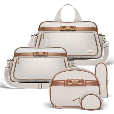 Imagem 1 do produto Bolsa maternidade para bebe Oxford + Frasqueira Térmica Kent + Kit Acessórios Laço Caramel Caqui - Classic for Baby Bags