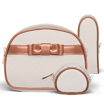 Imagem 4 do produto Bolsa maternidade para bebe Oxford + Frasqueira Térmica Kent + Kit Acessórios Laço Caramel Caqui - Classic for Baby Bags