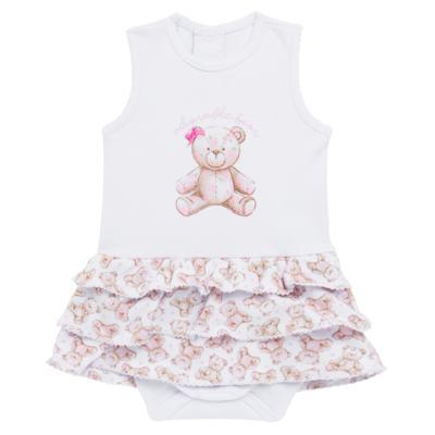 Imagem 1 do produto Body Vestido para bebe em algodão egípcio com jato de cerâmica Princess Bear - Mini & Classic - 0407655 BODY VESTIDO REG SUEDINE URSA -GG