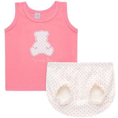 Imagem 1 do produto Regata com Cobre fralda para bebe em suedine My Lovely Bear- Vicky Lipe - 18231281.202 REGATA COBRE FRALDA MALHA URSINHAS 2-M