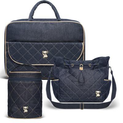 Imagem 1 do produto Mala Maternidade para bebe + Bolsa Cannes + Frasqueira Térmica Firenze Golden Denim - Classic for Baby Bags