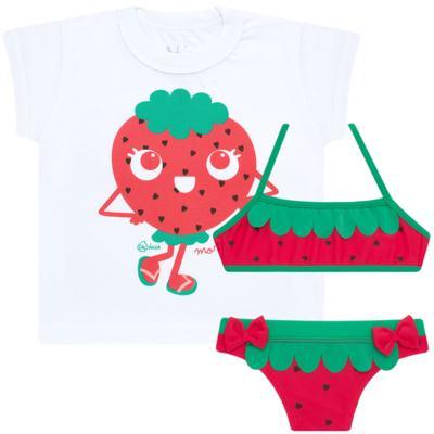 Imagem 1 do produto Conjunto de Banho Strawberry: Camiseta + Biquíni - Cara de Criança - KIT2-1253: B1253 BIQUINI + CCA1253 CAMISETA MORANGUINHO-2