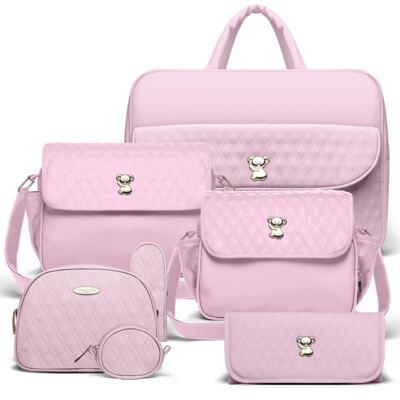 Imagem 1 do produto Kit Mala Maternidade para bebe + Bolsa Mônaco + Frasqueira Térmica Nice + Kit Acessórios + Trocador Portátil Golden Koala Rosa- Classic for Baby Bags