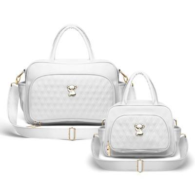 Imagem 1 do produto Kit Bolsa maternidade para bebe Veneza + Frasqueira Térmica Milão Golden Koala Branco - Classic for Baby Bags