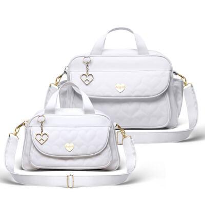 Imagem 1 do produto Kit Bolsa maternidade para bebe Málaga + Frasqueira Valência Corações Matelassê Branco -  Classic for Baby Bags