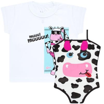 Imagem 1 do produto Conjunto de banho Vaquinha: Maiô + Camiseta - Cara de Criança - KIT1-1260: MB1260 MAIO + CCA1260 CAMISETA VAQUINHA-4