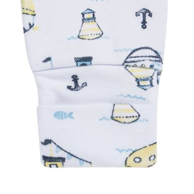 Imagem 3 do produto Pack 2 mijões para bebe com pé reversível em algodão egípcio c/ jato de cerâmica Summer Boats - Mini & Classic - 1025666 PACK 2 MIJOES SUEDINE SUMMER-RN