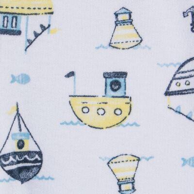 Imagem 4 do produto Pack 2 mijões para bebe com pé reversível em algodão egípcio c/ jato de cerâmica Summer Boats - Mini & Classic - 1025666 PACK 2 MIJOES SUEDINE SUMMER-RN