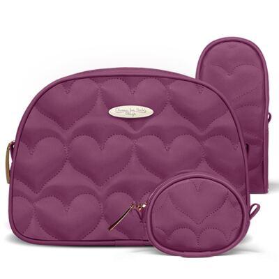 Imagem 5 do produto Kit Mala Maternidade para bebe + Bolsa Málaga + Frasqueira Valência + Kit Acessórios Corações Matelassê Vinho - Classic for Baby Bags