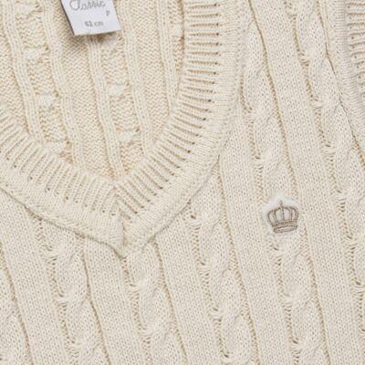 Imagem 2 do produto Colete trançado para bebe em tricot Bege - Mini & Classic - 4507650 COLETE TRANCADO TRICO NATURE-P