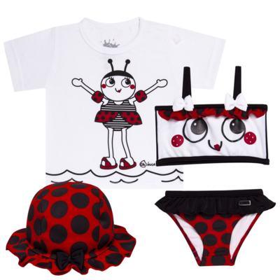 Imagem 1 do produto Conjunto de Banho Joaninha: Camiseta + Biquíni + Chapéu - Cara de Criança - KIT 1 1919 CCAB+BB+CH JOANINHA-M