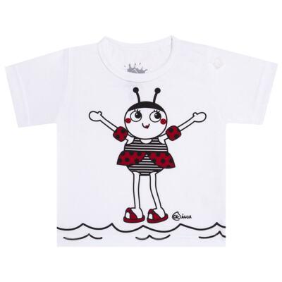 Imagem 2 do produto Conjunto de Banho Joaninha: Camiseta + Biquíni + Chapéu - Cara de Criança - KIT 1 1919 CCAB+BB+CH JOANINHA-M