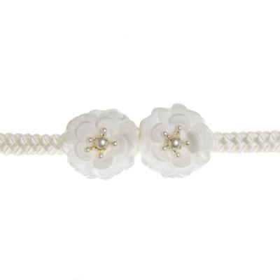 Imagem 2 do produto Faixa de cabelo trançada Flores & Pérolas Marfim - Roana