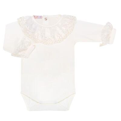 Imagem 1 do produto Body longo para bebe em malha Renda Marfim - Roana - 01640002031 BODY LONGO AVULSO ESPECIAL MARFIM-G