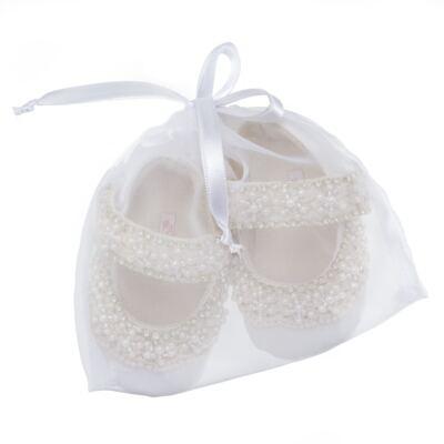 Imagem 4 do produto Sapatilha para bebe em cetim Pérolas & Strass Marfim - Roana - SPL00102031 SAPATILHA LUXO 4537 MARFIM-P