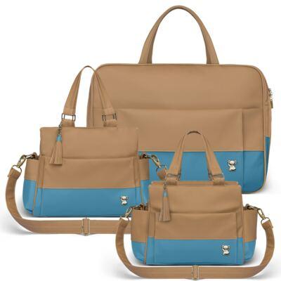 Imagem 1 do produto Mala Maternidade para bebe + Bolsa Genebra + Frasqueira Térmica Zurique Due Colore Turquesa - Classic for Baby Bags
