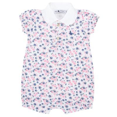 Imagem 1 do produto Macacão curto para bebe em cotton Flourish - Mini Sailor - 21994440 MACACAO M/C C/GOLA RIB/COTTON FLORAL ROSA-6-9