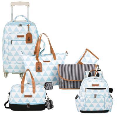 Imagem 1 do produto Mala maternidade com Rodízio + Bolsa 4 em 1 Sofia + Frasqueira térmica Vicky + Mochila Noah Manhattan Azul - Masterbag