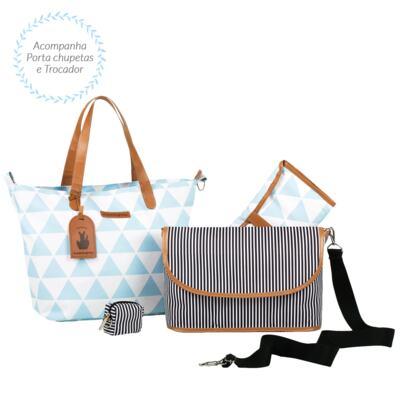 Imagem 3 do produto Mala maternidade com Rodízio + Bolsa 4 em 1 Sofia + Frasqueira térmica Vicky + Mochila Noah Manhattan Azul - Masterbag