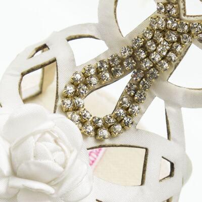 Imagem 4 do produto Sandália Gladiadora para bebe Flor & Strass - Roana - GLA00003031 SAPATILHA GLADIADORA MARFIM-P